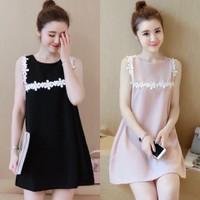 Váy suông viền hoa hàng Quảng châu cao cấp
