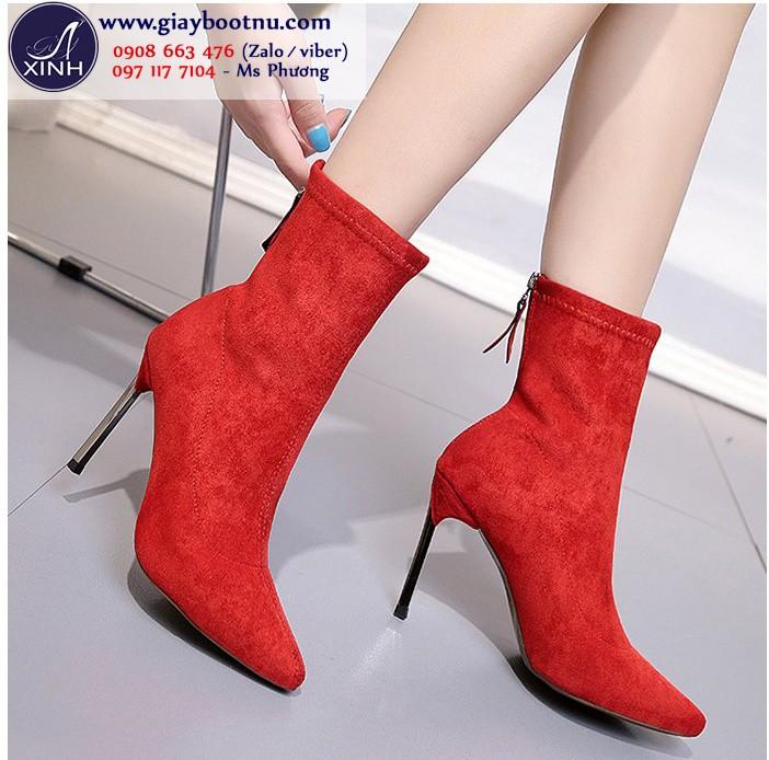 Giày boot tất cổ lửng da lộn sành điệu màu đỏ GBN19003