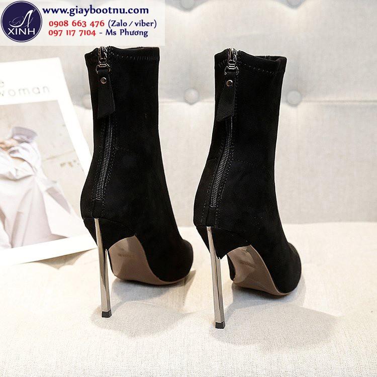 Giày boot tất cổ lửng da lộn sành điệu màu đen GBN19001