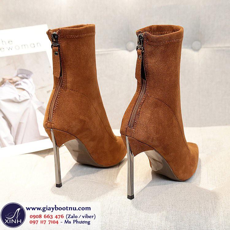 Giày boot tất cổ lửng da lộn sành điệu màu da bò GBN19002