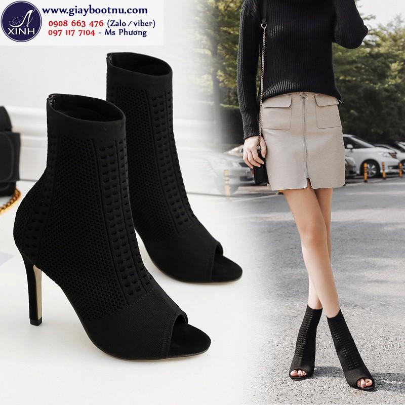 Giày boot nữ hở mũi cao gót chất len ôm chân GBN18801