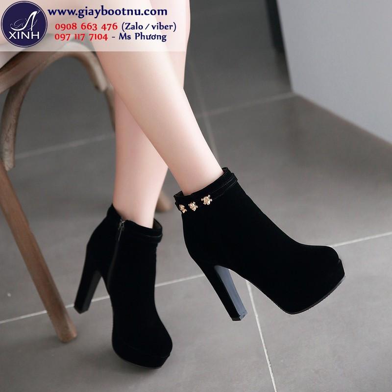 Giày boot nữ cổ ngắn cao gót 12cm hiện đại GBN18901
