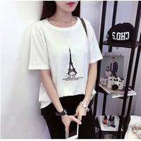 Áo thun nữ form rộng tháp Eiffel-hết màu đen