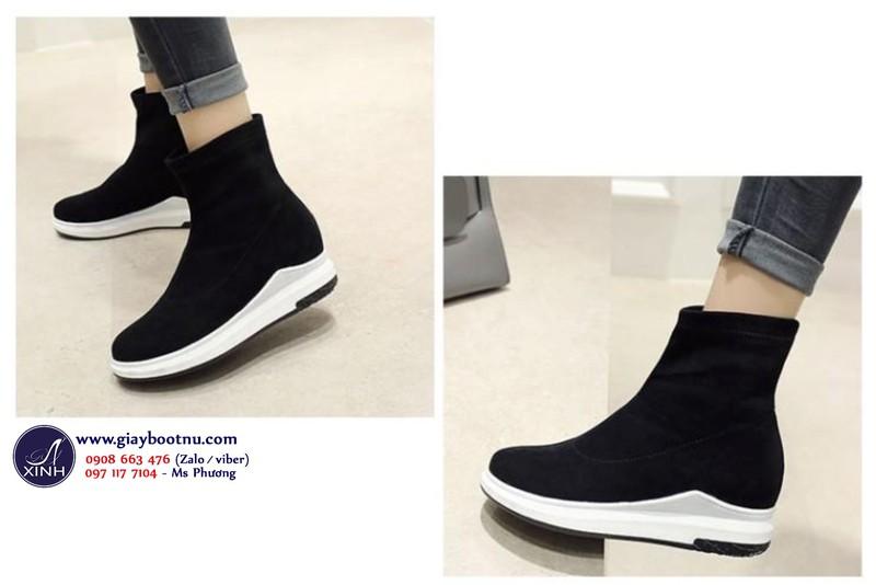 Giày boot nữ đế trệt cổ lửng dáng thể thao năng động GBN18401