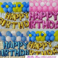 Combo sinh nhật chữ HPBD và 50 bóng màu