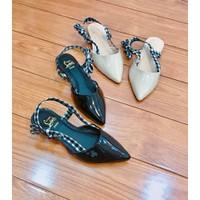 giày búp bê phối sọc
