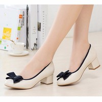 Giày da gót vuông nơ xinh cao cấp- G22