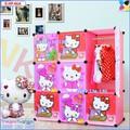 Tủ nhựa lắp ghép 9 ô sâu 47cm, thân hồng phấn, cánh Hello Kitty