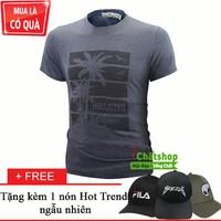 Áo Thun Ngắn Tay Cây Dừa Nhiệt Đới + 1 Nón Hot Trend Cực Chất