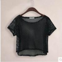 áo crop top lưới Mã: AK2094