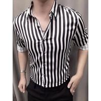 áo sơ mi nam sọc đen trắng