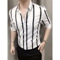 áo sơ mi nam sọc trắng đen