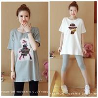 Set bộ áo thun và quần lửng in hình cao cấp Hàn Quốc  BY6263