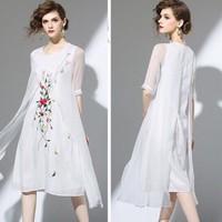 Đầm Suông Voan Hoa Thêu Cao Cấp A7149