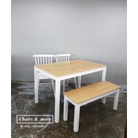 Bộ bàn ăn gỗ tự nhiên - Oak white