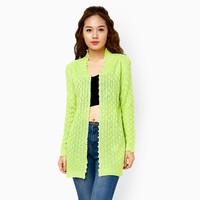 Áo khoác len đính hạt màu xanh lá