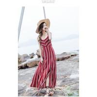 Đầm đi biển, váy maxi  xẻ tà hở lưng– MX501