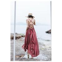 Đầm đi biển, váy maxi xẻ tà hở lưng
