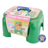 Bộ đồ chơi dụng cụ nhà bếp kiêm ghế ngồi 2 trong 1 cho bé