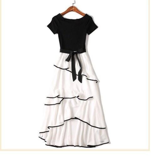 Đầm xòe chân váy voan xếp tầng - hàng nhập
