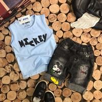 Bộ bé trai mickey áo thun quần jean diện mùa hè hàng vnxk