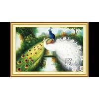 tranh thêu chữ thập vợi chồng chim công 87x65