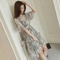 Đầm xòe voan lược