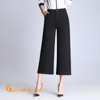 Quần nữ công sở quần ống rộng lưng cao nữ màu đen GLQ077