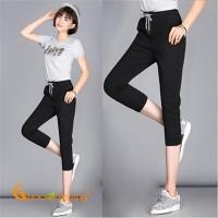 Quần lửng thể thao đen quần lửng nữ lưng cao co giãn 4 chiều GLQ076