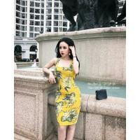 Đầm body thun vàng