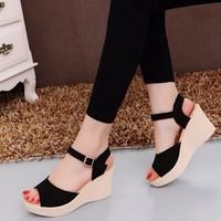 S035D - Giày sandal đế xuồng nữ  phong cách Hàn Quốc