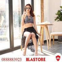 Bộ Bikini yếm 3 chi tiết kèm choàng ren - Hàng nhập
