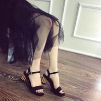 Giày sandal cao gót đế xoắn cực chất