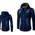 áo khoác denim phối nón họa tiết Mã: NK1098 - XANH ĐẬM