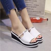 S034T - Giày sandal đế xuồng nữ đính đá phong cách Hàn Quốc