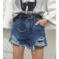 quần short jeans rách phối lưới Mã: QN766