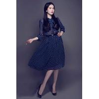 Đầm Xòe Vintage Chấm Bi Ngọc Trinh- D397