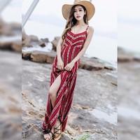 Đầm đi biển, váy maxi xẻ tà