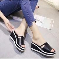 S034D - Giày sandal đế xuồng nữ đính đá phong cách Hàn Quốc