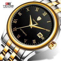 Đồng hồ nam máy cơ Tevise T80 1 lịch dây đúc đặc