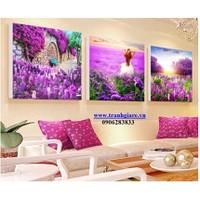 tranh thêu chữ thập rừng hoa màu tím 45x45x3 bức