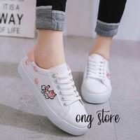 Giày thể thao nữ giày sneaker nữ thêu mèo xinh xắn mèo hồng