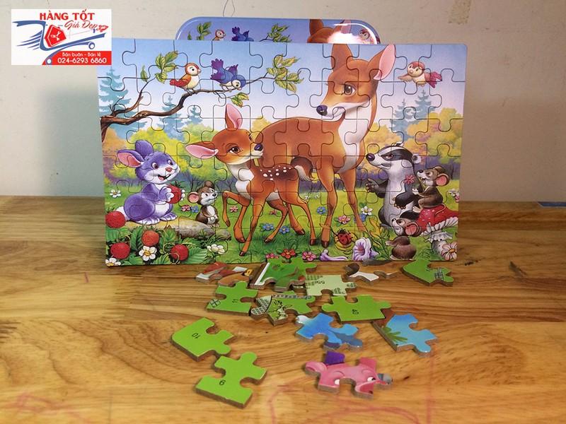 Ghép hình: 2 chú Hươu Bambi 60 miếng - Có hộp đựng bằng thiếc