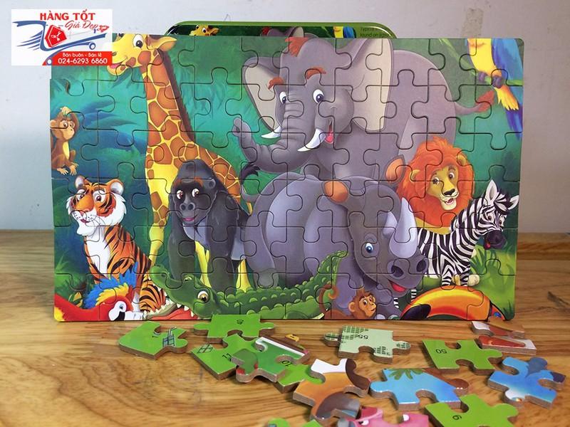 Ghép hình: Đại hội muông thú 60 miếng - Có hộp đựng bằng thiếc