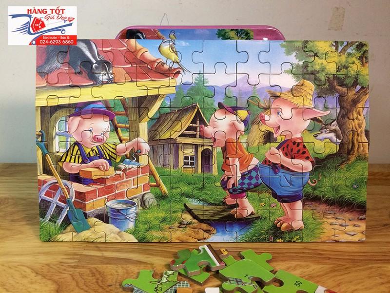Ghép hình: Lợn con xây nhà 60 miếng - Có hộp đựng bằng thiếc