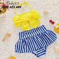 Đồ bơi cho bé từ 1-5 tuổi áo nơ váy kẻ sọc B02V