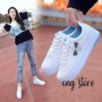 Giày thể thao giày sneaker nữ thêu ong đế độn xanh