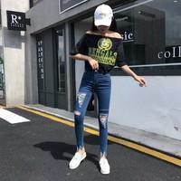 quần skinny jeans rách Mã: QD1815 - XANH ĐẬM