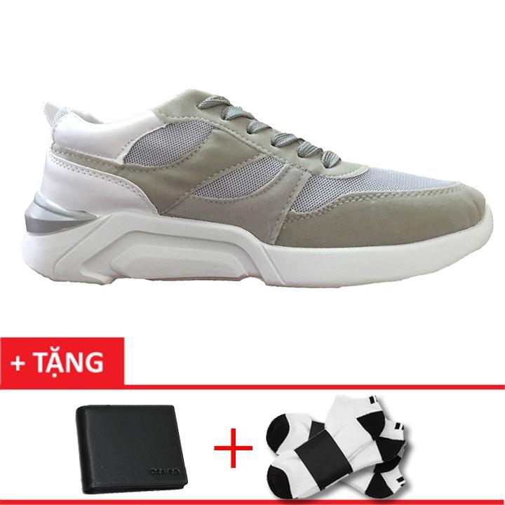 Giày sneaker nam mẫu mới +1 ví+ 1 đôi tất t1801xm