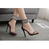 Giày sandal cao gót phối kim tuyến cực chất
